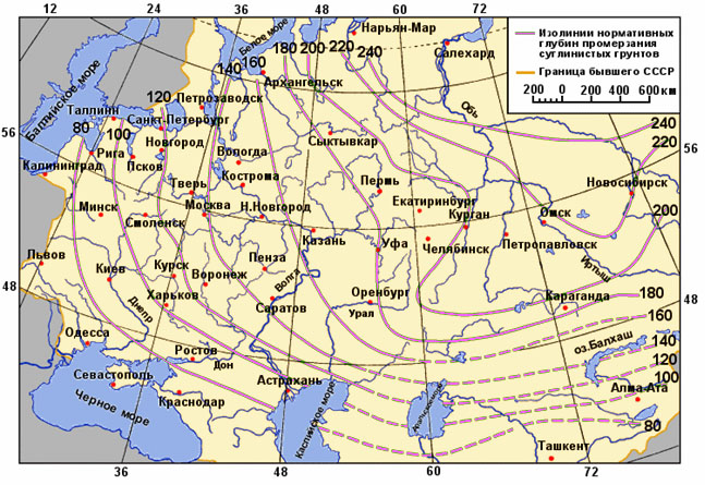 Карта нормативных глубин промерзания грунта.