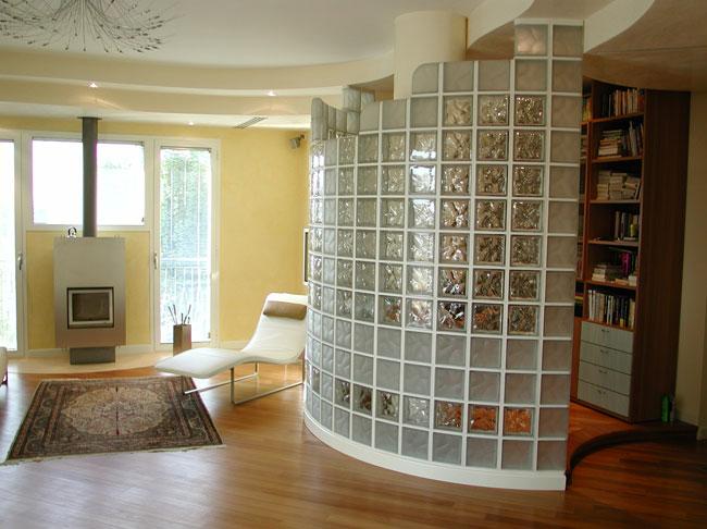 Декоративная перегородка из стеклоблоков